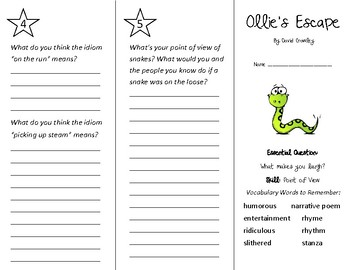 Ollie's Escape Trifold - Wonders 3rd Grade Unit 6 Week 5