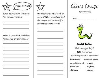 Ollie's Escape Trifold - Wonders 3rd Grade Unit 6 Week 5