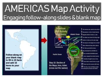 Olmec-Toltec-Maya-Inca-Aztec Map Activity: easy, fun, inte