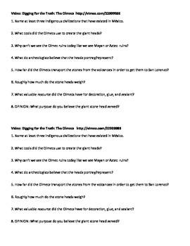 Olmecs Digging for the Truth Video Worksheet 1/2 sheet