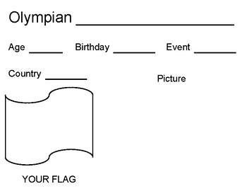 Olympian Work Sheet