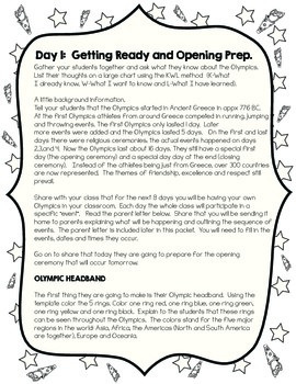 Olympic 8-Day Unit - Lesson plans, activities, snack, bulletin board and more!