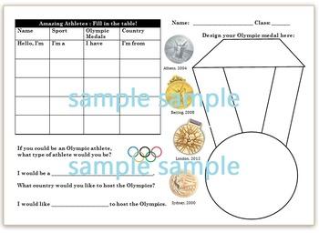 Olympic Athlete Worksheet