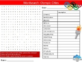 Olympic Cities Wordsearch Puzzle Sheet Keywords Fitness Physical Education