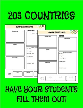 Olympic Country Cards