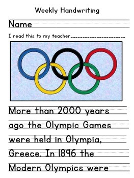 Winter Olympics, Winter Olympic Games Handwriting
