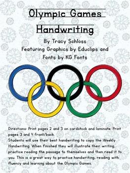 Winter Olympics, Winter Olympic Games Handwriting