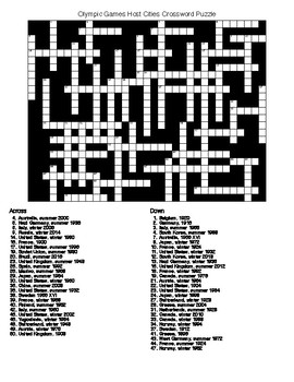 Olympic Games Host Cities Crossword & Word Search Puzzles
