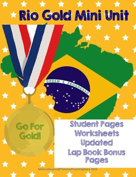 Summer Olympic Games 2016 Rio Student printables Lap book