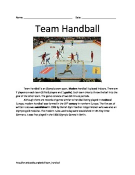 Olympic Handball - All the facts information - questions vocab - lesson