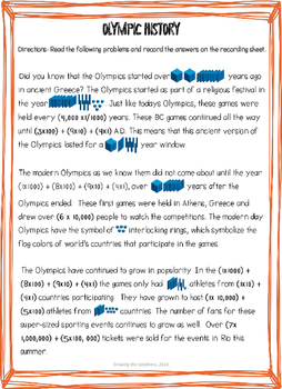 Olympic History : A High Interest Reading Passage for Reading Whole Numbers