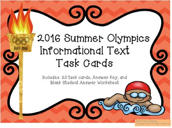 Olympic Informational Text Reading Task Cards