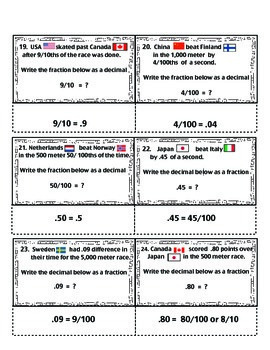 Winter Sports Math Centers Bundle with Task Cards and Games:  CCSS Aligned