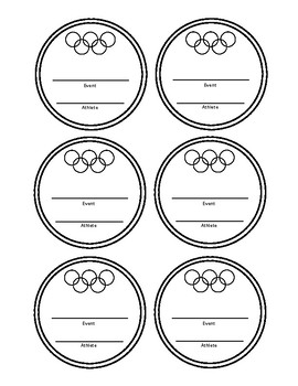 Olympic Medal Outlines for Bulletin Board