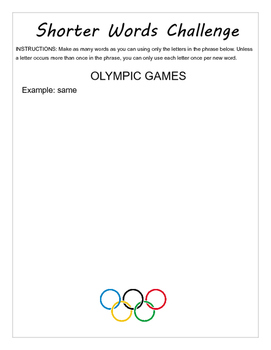 Olympic Medal Tally and Language Arts Activities