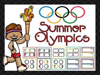 Olympic Name Tags and Name Plates EDITABLE