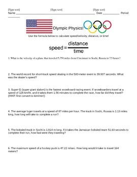 Olympic Physics Speed/Velocity Calculations