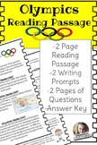Olympics Reading Passage includes writing prompts and questions