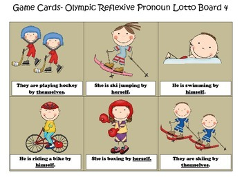 Olympic Reflexive Pronoun Lotto Game