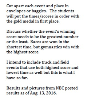 Using Olympic Results for Decimal Order