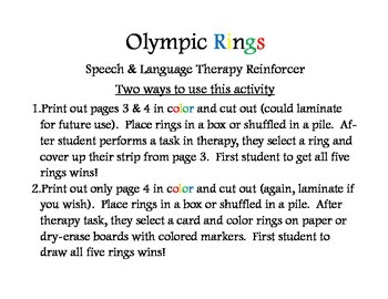 Olympic Rings- speech-language therapy reinforcer