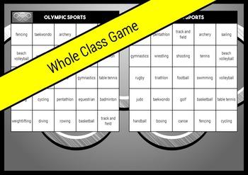 Summer Olympic Sport Bingo Rio 2016 Whole Class