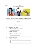 Olympic Sport Outline and Writing Activity