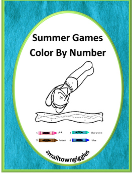 Color by Number Summer Games Pages NO PREP Math Worksheets