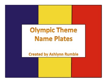 Olympic Theme Name Plates
