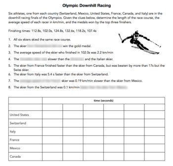 Olympic Themed Average Speed Logic Puzzle - Great for Critical Thinking!