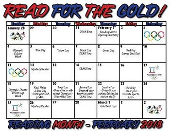 Olympic Themed Reading Month Calendar & Activity Ideas