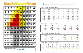 Olympic Torch Addition Math Mystery Picture With & Without Regrouping - 11x17
