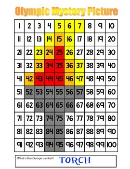 Olympic Torch Multiplication Math Mystery Picture - 8.5x11