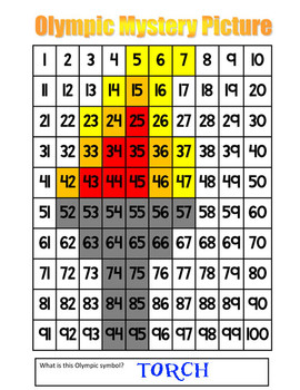 Olympic Torch Subtraction Math Mystery Picture With & Without Regrouping - 11x17