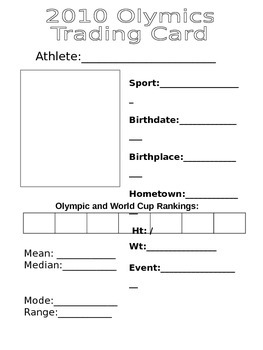Olympic Trading Card Activity to practice Mean, Median, Mo