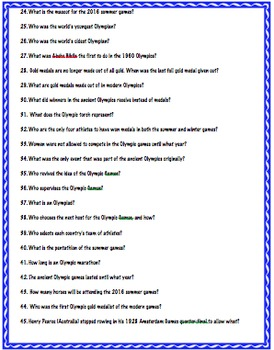 Olympic Trivia Research Activity (web quest)