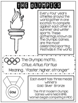 Olympic Games...Engaging activities, Informational Text, Crafts!