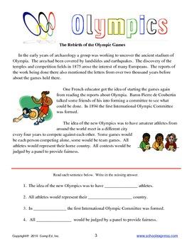 Olympics Thematic Unit