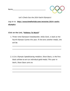 Olympics 2014 Time For Kids Webquest