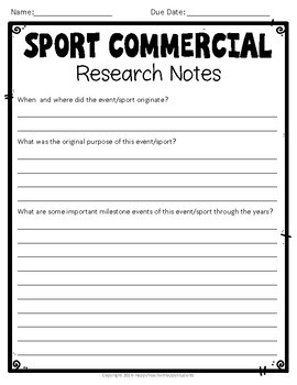 Create a Sports Commercial Skit: Perfect for a Winter Olympics 2018 Project!