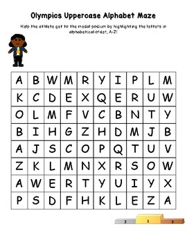 Olympics Athletes Alphabet and Number Mazes for Interventions or Centers