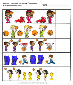 NO PREP Basketball Sequencing, Addition, Subtraction Match Center Activities