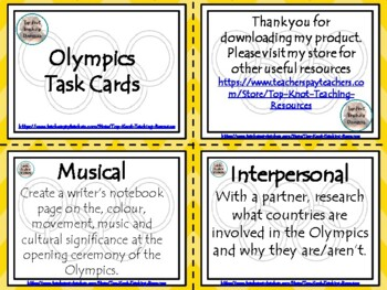 Olympics Blooms and Gardner Grid with task cards