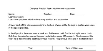 Olympics Fractions Task Addition and Subtraction