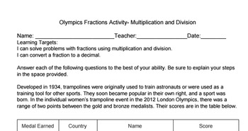 Olympics Fractions Task Multiplication and Division