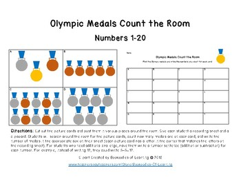 Olympics Medals Count the Room Math Activity: Numbers 1-20