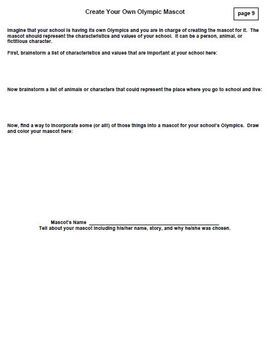 NO PREP- Olympic Reading Comprehension Worksheets and Creative Activities Unit