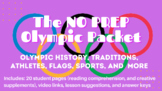 NO PREP- Olympic Reading Comprehension Worksheets and Crea