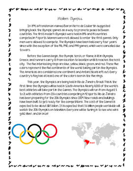 Olympics Packet-Ancient vs. Modern Olympics (updated for 2016 Rio)
