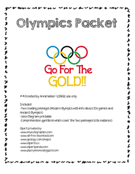 Olympics Packet-Ancient vs. Modern Olympics (updated for 2
